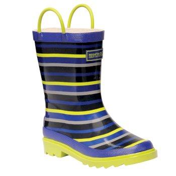 Kids Minnow Wellington Boots Surfspray Blue Lime Zest