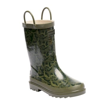 Kids Minnow Wellington Boots Fauna Bay Leaf
