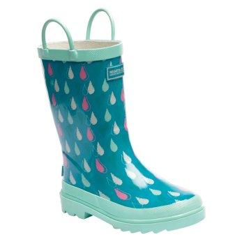 Kids Minnow Wellington Boots Aqua Mint Green