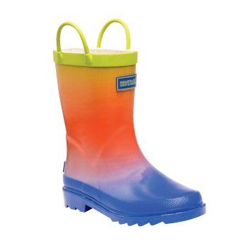Kids Minnow Printed Wellington Boots Blue Ombre