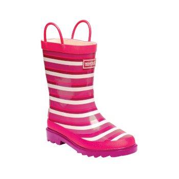 Kids Minnow Printed Wellington Boots Duchess Pink