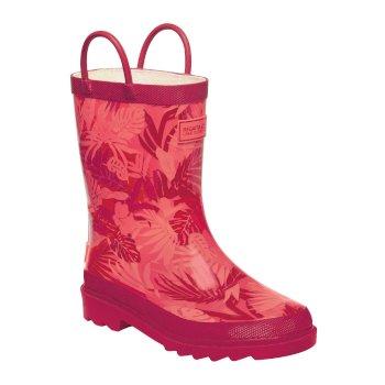 Kids Minnow Printed Wellington Boots Peach Bloom Dark Cerise