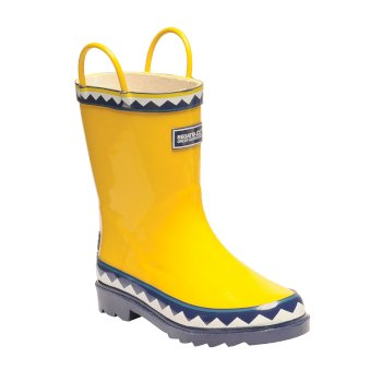Kids Minnow Printed Wellington Boots Lifeguard Yellow Navy