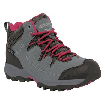 Kids Holcombe Mid Walking Boots Steel Vivacious
