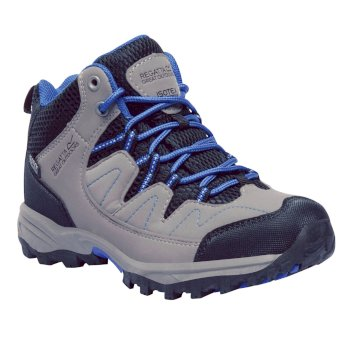 Kids Holcombe Mid Walking Boots Rock Grey Skydiver Blue