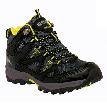 Kids Gatlin Mid Walking Boots Black Neon Spring