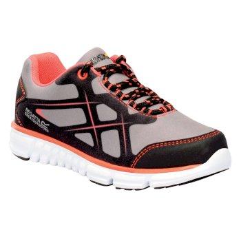 Kids Kota Lite Walking Shoes Rock Grey Neon Peach
