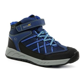 Kids' Samaris V Waterproof Mid Walking Boots Prussian Blue Neon Spring