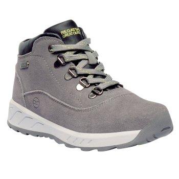 Kids Grimshaw Mid Suede Casual Walking Boots Rock Grey Lime Fizz