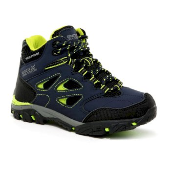 Kids' Holcombe IEP Mid Waterproof Walking Boots Navy Lime Punch