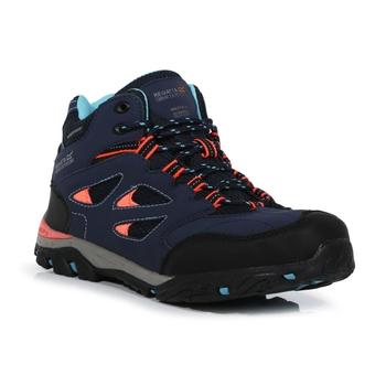 Kids' Holcombe Waterproof Mid Walking Boots Navy Fiery Coral
