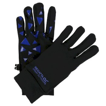 Kids Grippy Gloves Black Oxford Blue