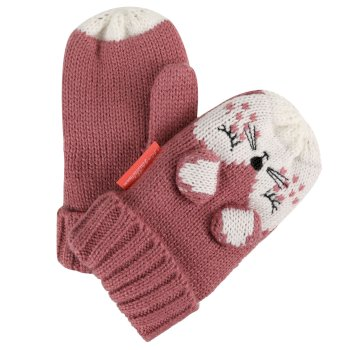 Kids Animally Mitts II Dusty Rose White