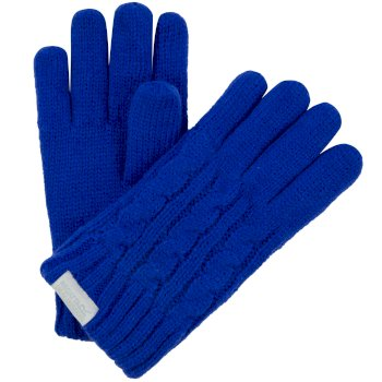 Kids Multimix Fleece Lined Cable Knit Gloves Surf Spray
