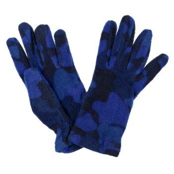 Kids' Fallon Printed Gloves Royal Blue Camo