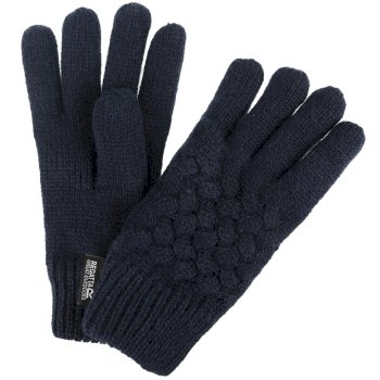 Merle Cable Knit Gloves Navy