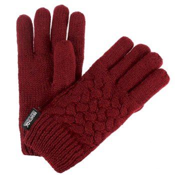 Merle Cable Knit Gloves Delhi Red