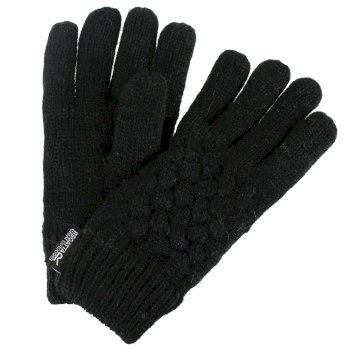Merle Cable Knit Gloves Black