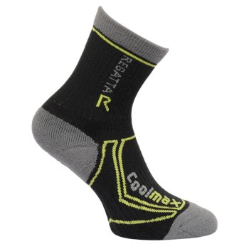 Kids 2 Season Coolmax Trek & Trail Socks Black Oasis Green
