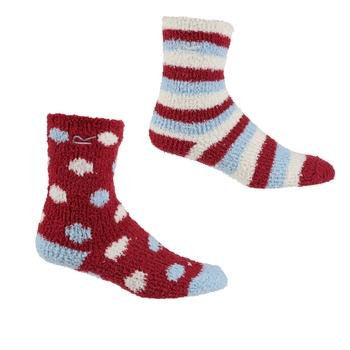 Kids' 2 Pair Cosy Socks Cherry Pink