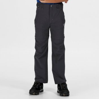Kids' Hikefell Stretch Zip Off Trousers Seal Grey