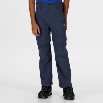 Kids' Hikefell Stretch Zip Off Trousers Dark Denim