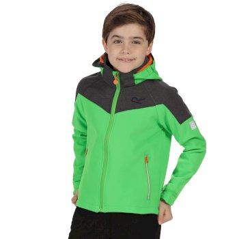 Kids Acidity Hooded Stretch Softshell Jacket Fairway Green Seal Grey Reflective