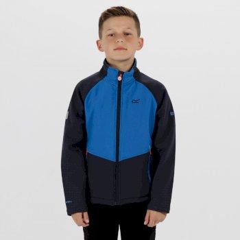 Kids Varro Woven Stretch Softshell Jacket Navy Skydiver Blue