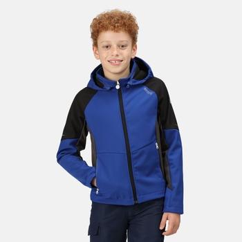 Kids' Eastcott Softshell Hooded Jacket Surf Spray Black