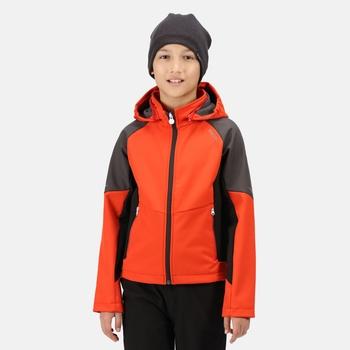 Kids' Eastcott Softshell Hooded Jacket Cajun Orange Ash Black