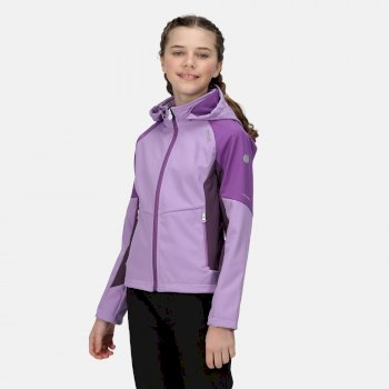 Kids' Eastcott Softshell Hooded Jacket Hyacinth Dark Aubergine Marl Purple Sapphire
