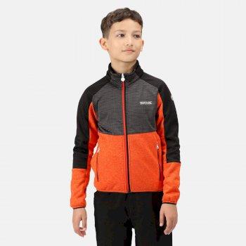 Kids' Oberon IV Softshell Jacket Cajun Orange Ash Black