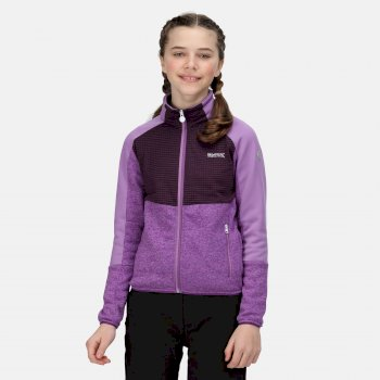 Kids' Oberon IV Softshell Jacket Hyacinth Dark Aubergine Marl Purple Sapphire