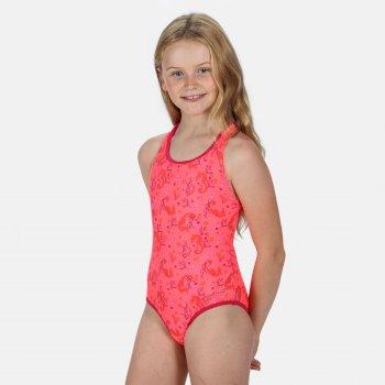 Kids' Tanvi Swimming Costume Fiery Coral