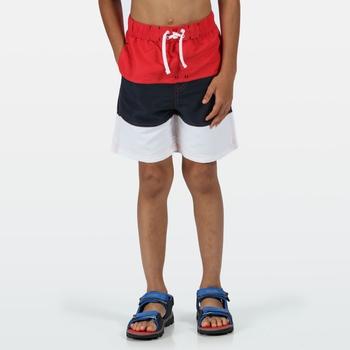 Dziecięce spodenki do pływania czerwono-czarno-białe