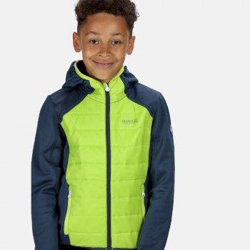 Kids' Kielder IV Lightweight Hooded Hybrid Jacket Dark Denim Electric Lime