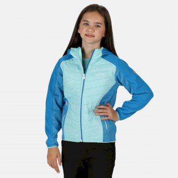 Kids' Kielder IV Lightweight Hooded Hybrid Walking Jacket Cool Aqua Blue Aster