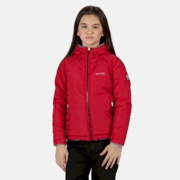 Kids' Spyra Lightweight Insulated Hooded Walking Jacket Dark Cerise Lead Grey Reverse