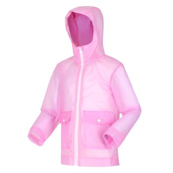 Kids' Hallow Waterproof Transparent Hooded Jacket Pastel Pink