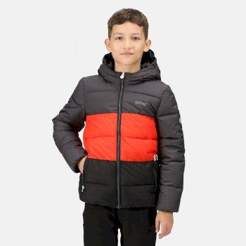Kids' Lofthouse V Insulated Hooded Jacket Ash Cajun Orange Black