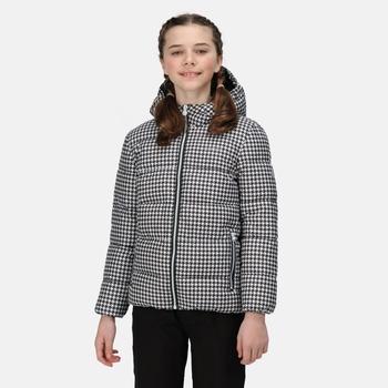 Kids' Lofthouse V Insulated Hooded Jacket Black White Houndstooth