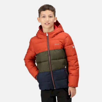 Kids' Lofthouse V Insulated Hooded Jacket Red Ochre Dark Khaki Navy