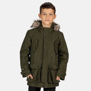 Kids' Pazel Waterproof Insulated Fur Trimmed Hooded Parka Jacket Dark Khaki