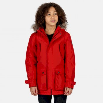 Kids' Pazel Waterproof Insulated Fur Trimmed Hooded Parka Jacket Classic Red