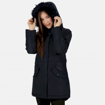 Kids' Honoria Waterproof Insulated Fur Trimmed Hooded Parka Jacket Navy