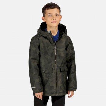 Kids' Sarkis Waterproof Insulated Hooded Jacket Dark Khaki Camo