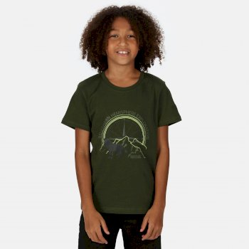Kids' Bosley III Printed T-Shirt Racing Green Wolf Print