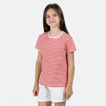 Kids' Ayan Coolweave T-Shirt Fiery Coral Stripe