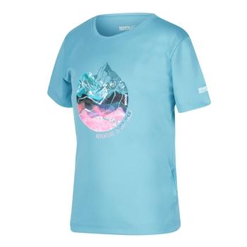 RKT112_P7D: Kids Alvardo V Graphic T-Shirt Cool Aqua