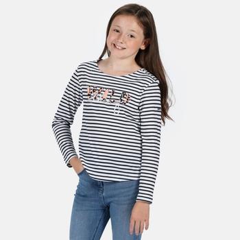 Kids' Carmella II Long Sleeved Striped Graphic T-Shirt Navy Stripe